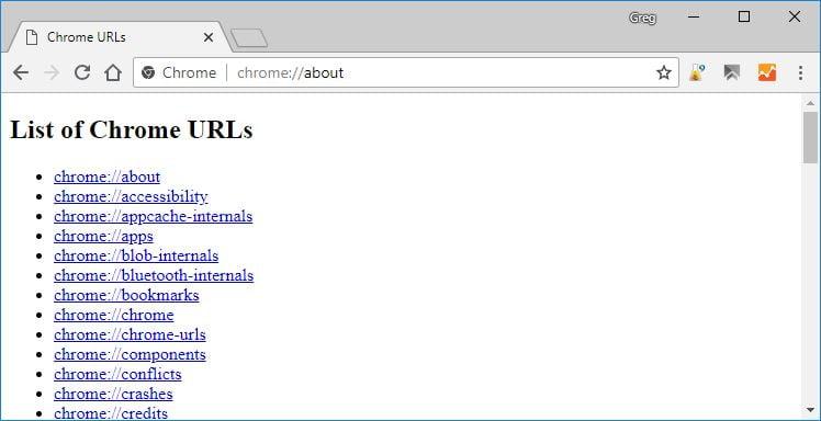 chrome-about-page Comment accéder aux fonctions et paramètres cachés de Chrome en utilisant les pages chrome://