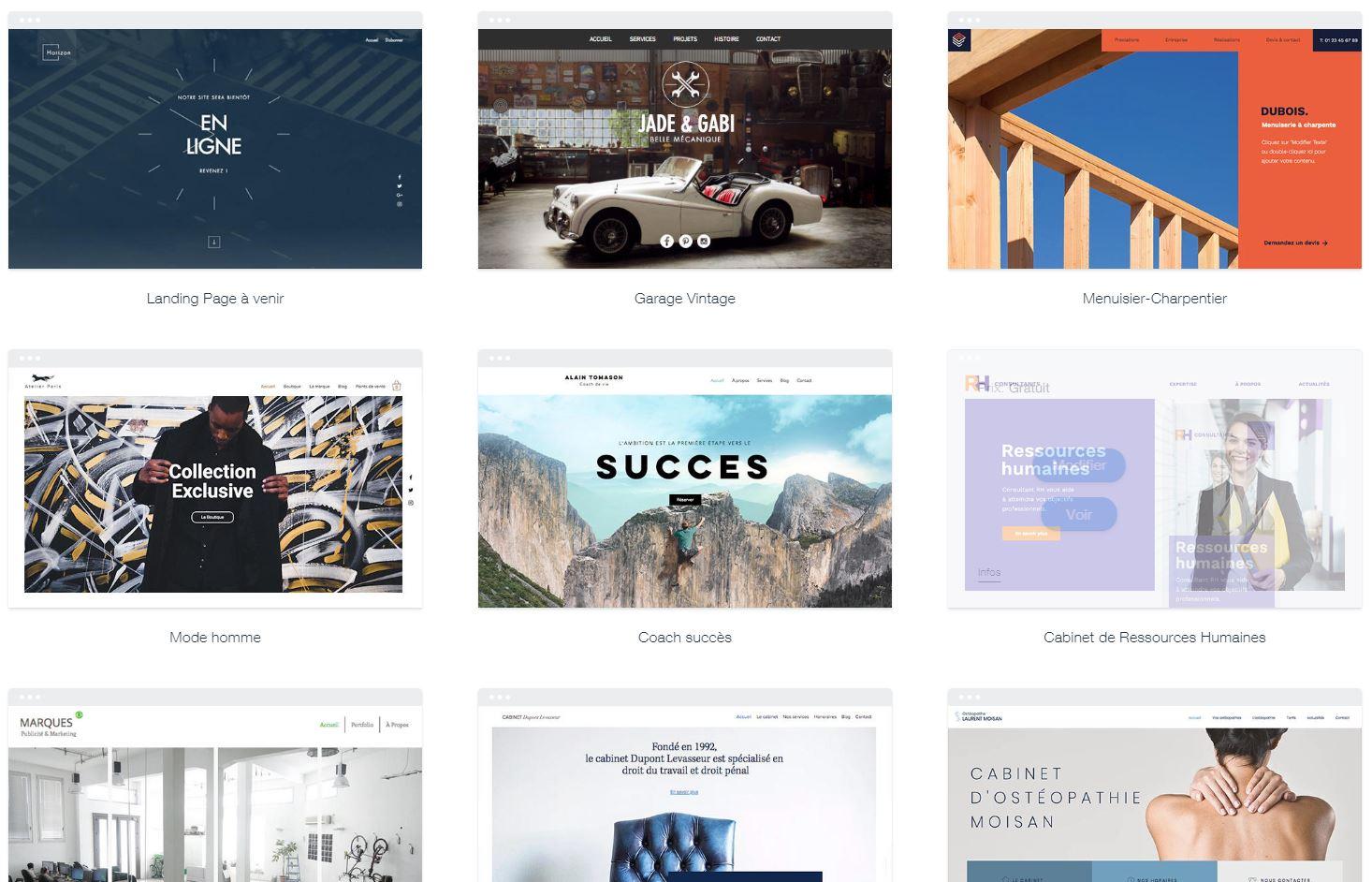 wix-template Créer un site web grâce à la plateforme de développement Wix
