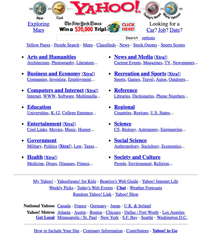 yahoo-1997 Museum of Websites : voyez comment les sites les plus célèbres ont évolués !
