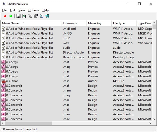 shellmenuview Nettoyer facilement le menu du clic droit sous Windows