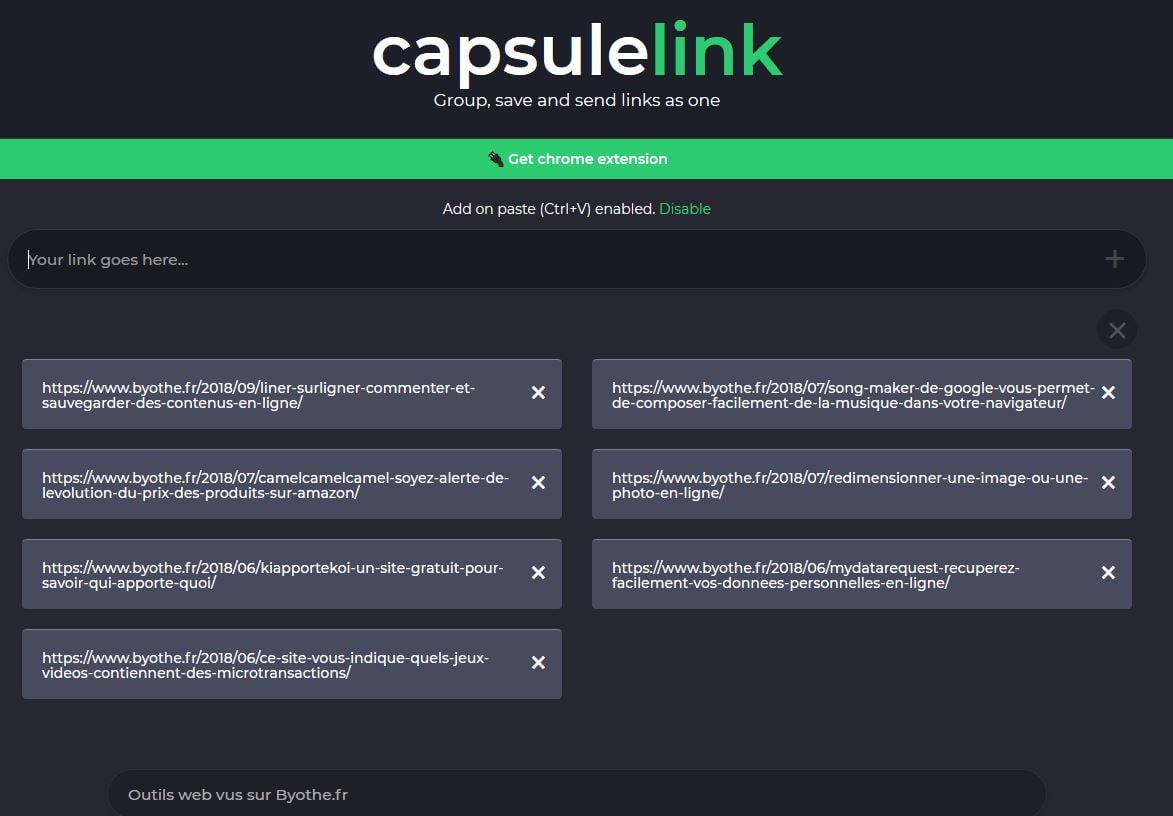 capsulelink-test CapsuleLink, sauvegarder et partager facilement une liste de liens internet