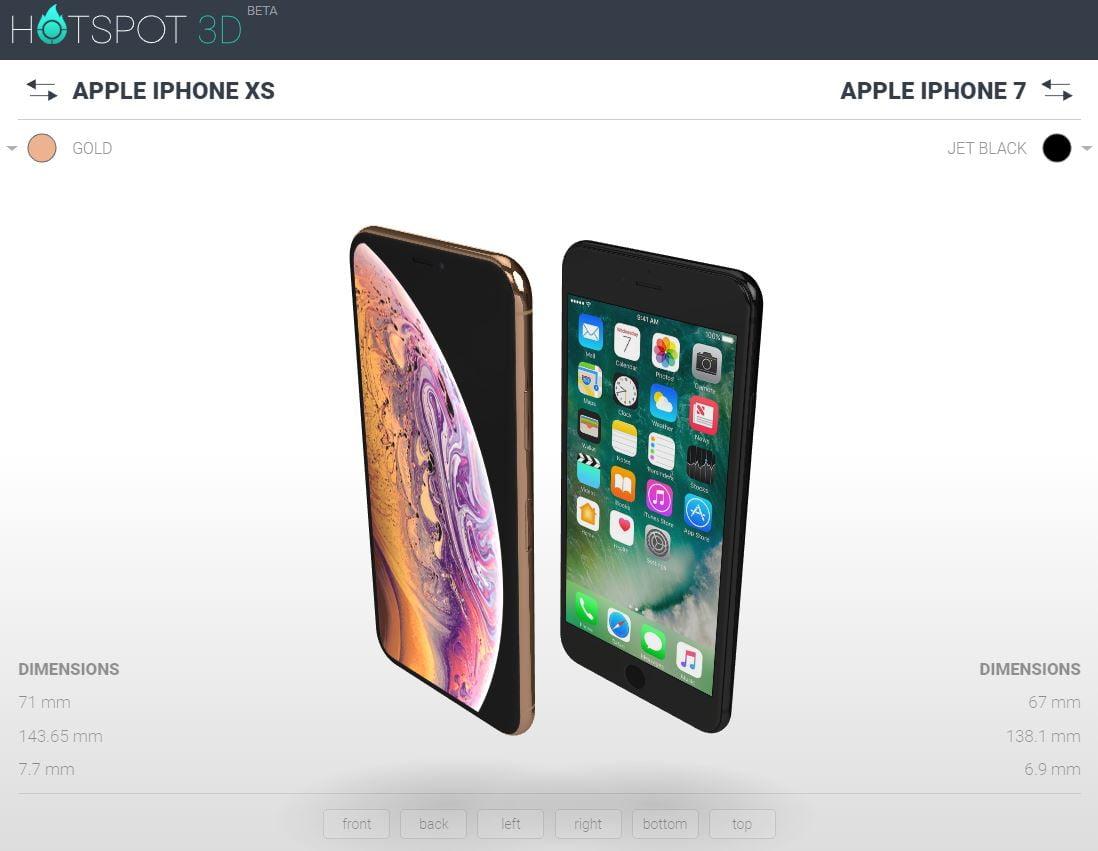 hotspot3d-iphone-xs-iphone-7 Un site web en 3D pour vous aider à choisir votre modèle de smartphone !