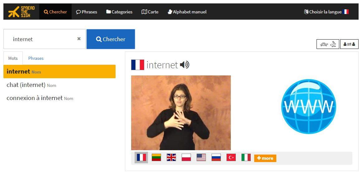 SpreadTheSign-Internet SpreadTheSign, un dictionnaire international de la langue des signes