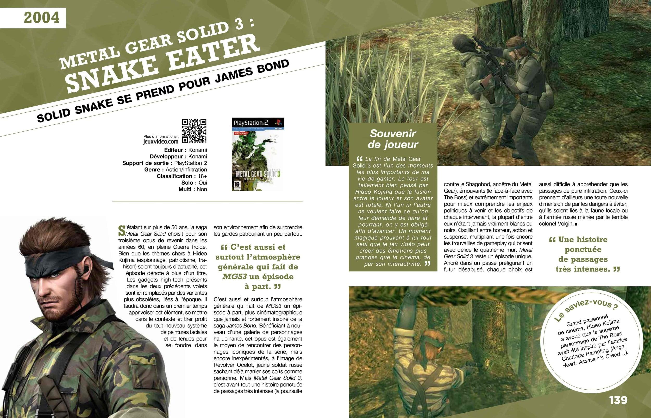 """metal-gear-solid-3 #Concours : 1 livre """"100 jeux vidéo incontournables"""" à gagner !"""