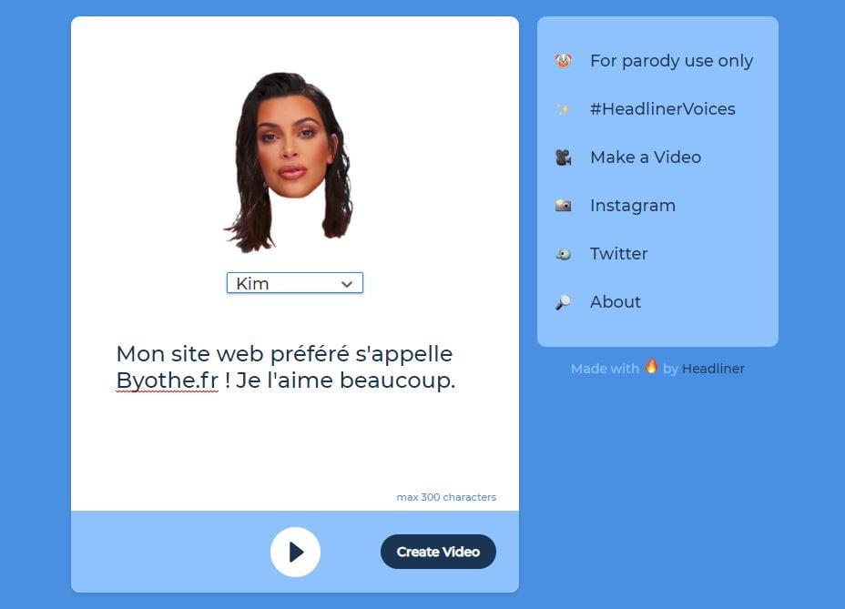 HeadlinerVideo-kim-kardashian-texte Voices by Headliner vous permet de faire dire n'importe quoi à Mark Zuckerberg, Donald Trump et bien d'autres