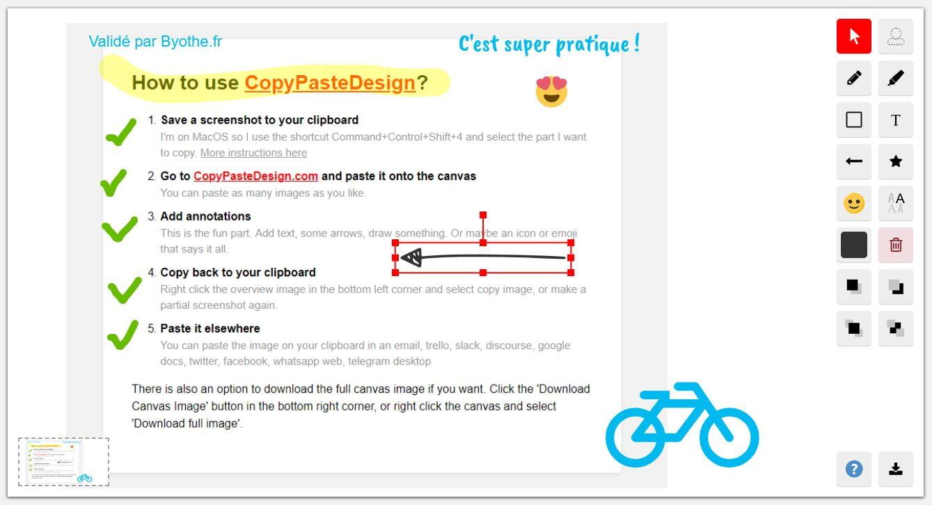 copypastedesign-annoter-dessiner-capture-ecran CopyPasteDesign, un site pour annoter, dessiner, écrire... sur vos captures d'écran