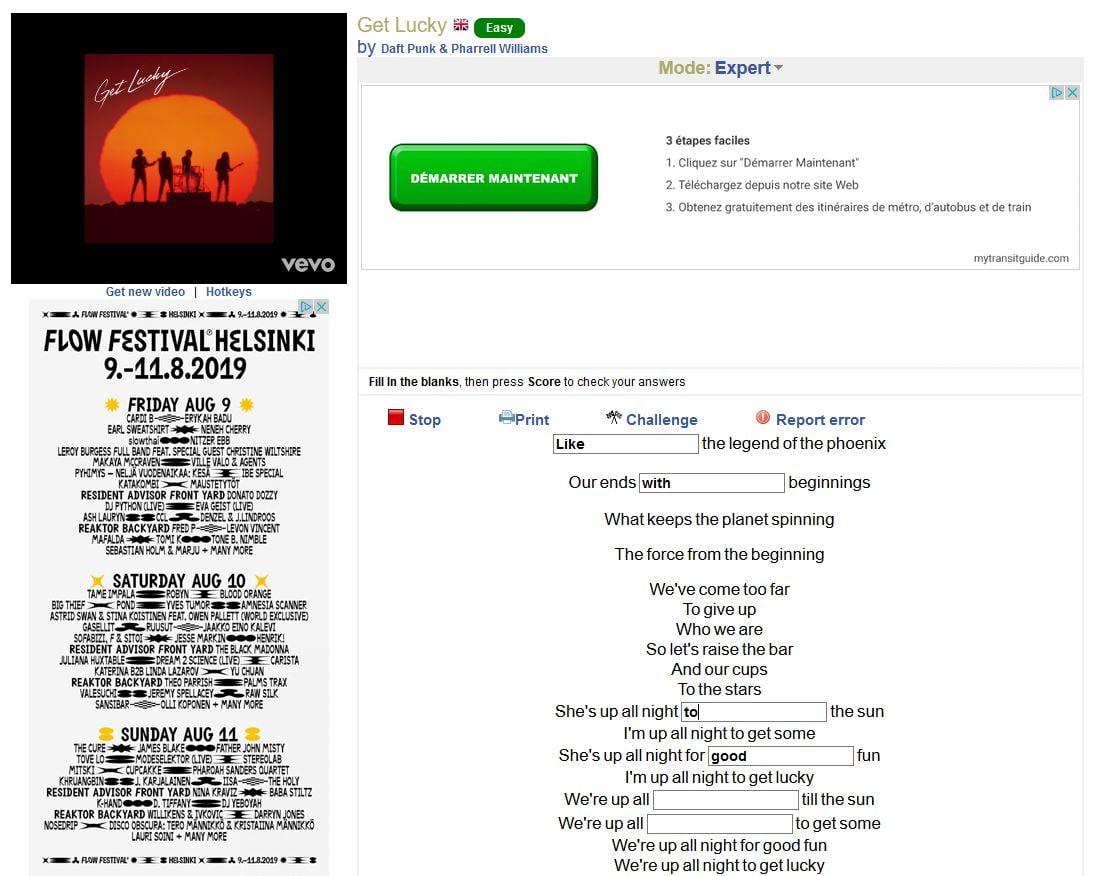 lyricsgap-get-lucky-langue Apprendre une langue étrangère grâce à des chansons célèbres avec LyricsGap