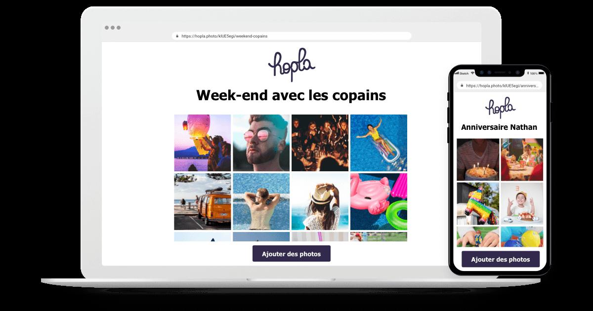 Hopla-iphone-laptop-album-photo Hopla : créez des albums photos en ligne partagés, collaboratif et privés !