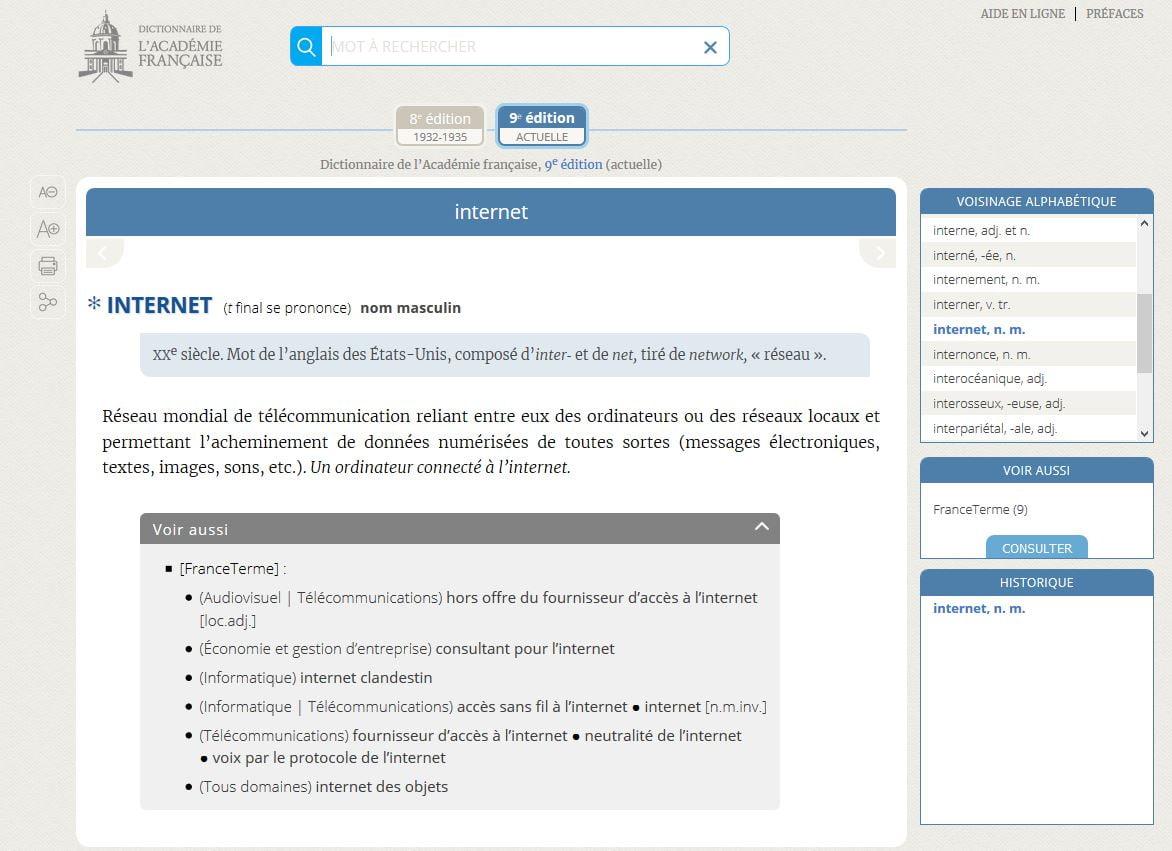dictionnaire-academie-francaise-mot-internet Le dictionnaire gratuit de l'Académie française est désormais en ligne !