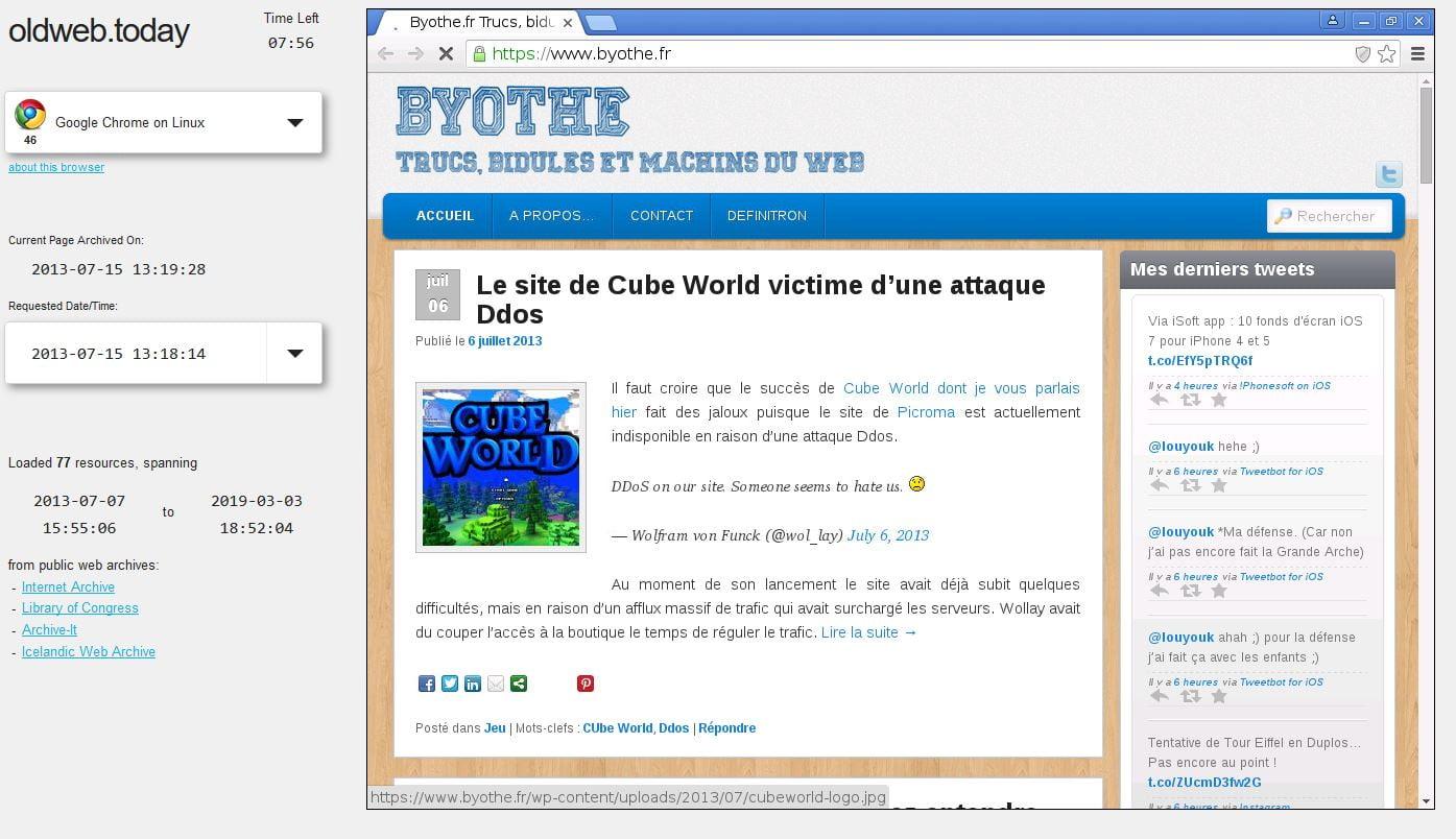 oldweb-ancienne-version-site-web OldWeb vous permet de visionner les versions anciennes des sites web !