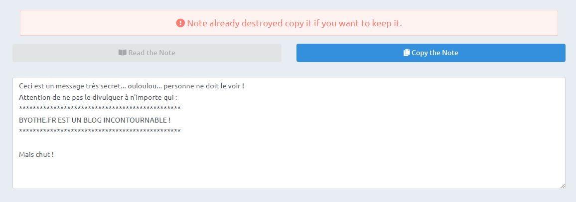 safenote-interface-autodestruction-message SafeNote : envoyer un message qui s'autodétruira après lecture !